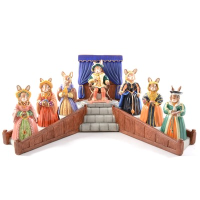 Lot 12-A Royal Doulton, Bunnykins set, Henry VIII and his Six Wives, on stand