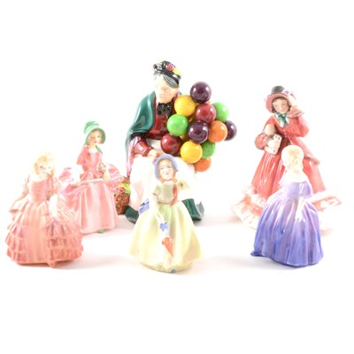Lot 11-A Royal Doulton figure, The Old Balloon Seller, HN1315, and five other Doulton fgures