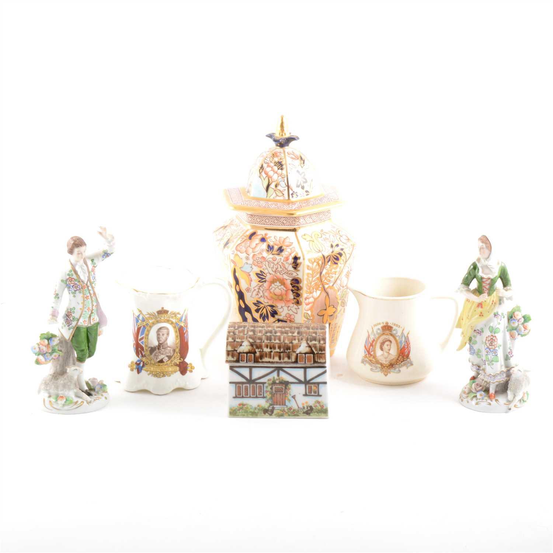 Lot 37-A pair of Sitzendorf figures, Shepherd and Shepherdess, etc