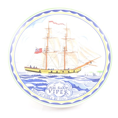 Lot 60-A Poole Pottery plate, commemorating the building of the HM Sloop Viper