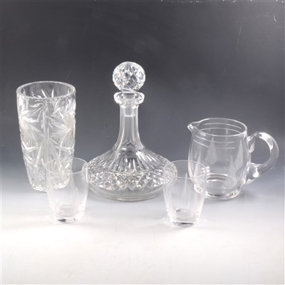 "Lot 71-A collection of glassware, including a jug and tumbler set, six matching ""port"" glasses, etc"