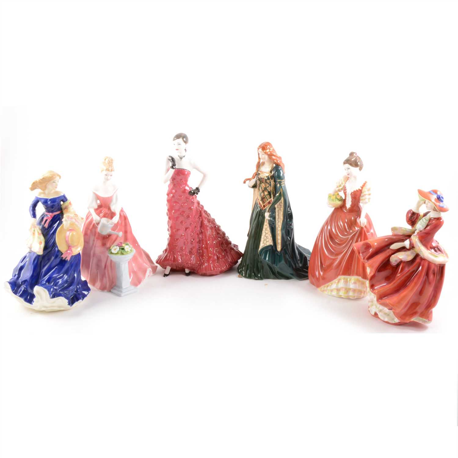 Lot 21-A Royal Doulton figure, Top O'the Hill, HN1834, 21cm; and five other decorative figures