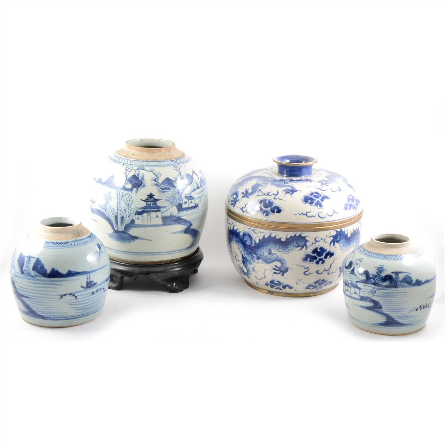 Lot 19-A large Chinese blue and white ginger jar, etc