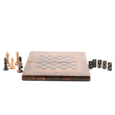 Lot 93-Three Staunton pattern chess sets, and a set of dominoes