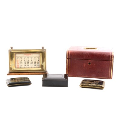 Lot 81-An oak petrol desk calendar, jewellery casket, opera glass, etc