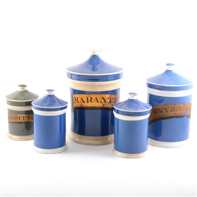 Lot 51-A collection of Victorian pottery chemist's bottles