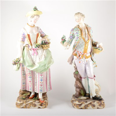 Lot 44-A pair of large Meissen porcelain figures, Lady and Gentleman in 18th Century costume
