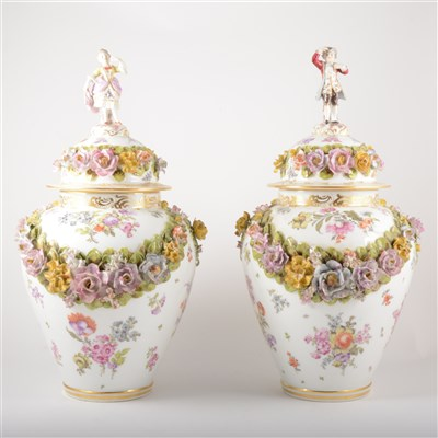 Lot 41-A pair of Dresden porcelain vases