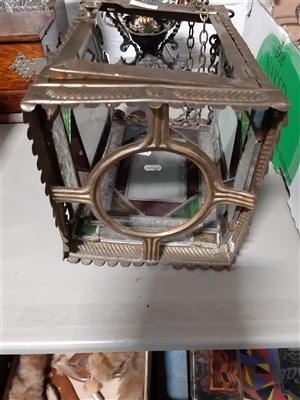 Lot 39-An Edwardian brass hall lantern