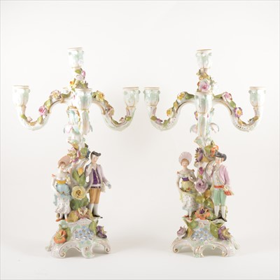 Lot 40-Two German five-light candelabras, late 19th Century.