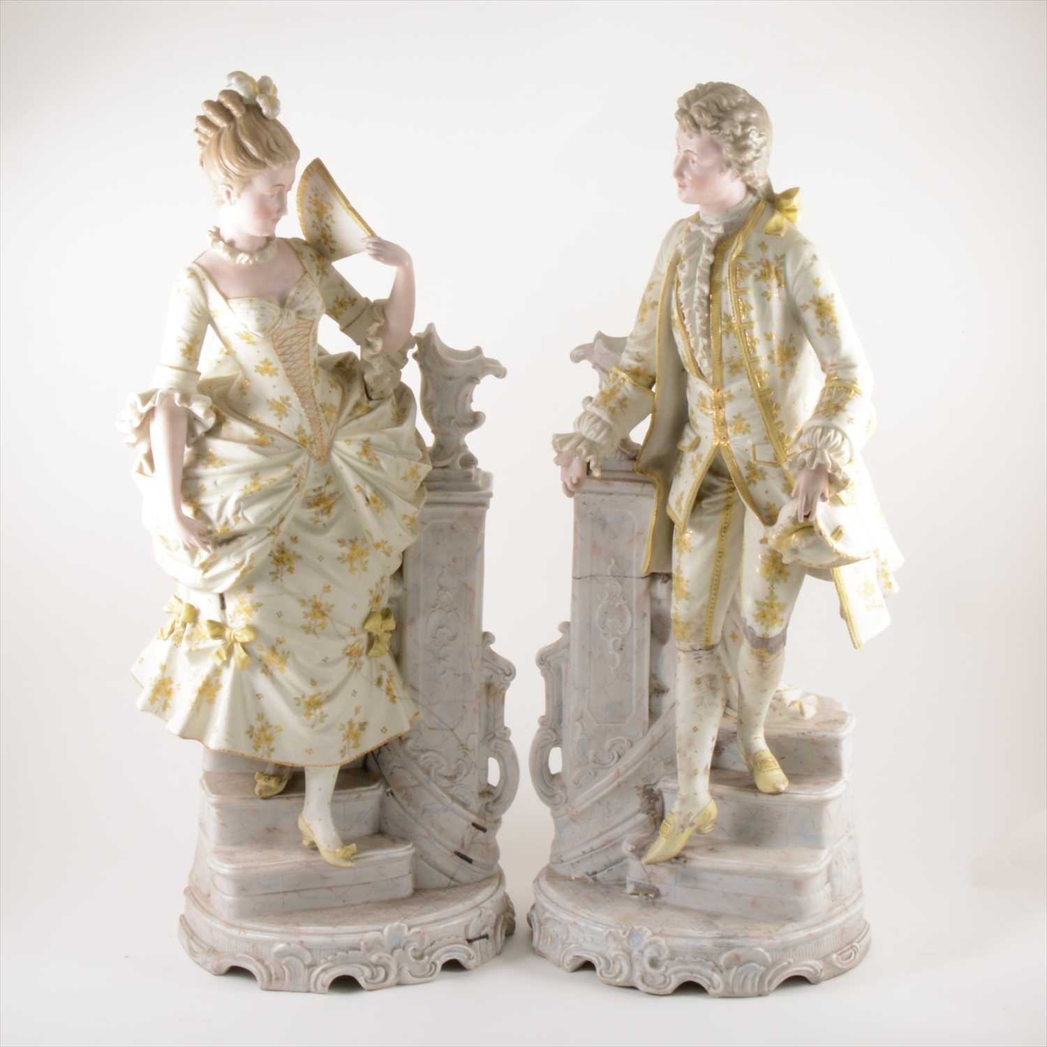 Lot 502-A pair of large French porcelain figures
