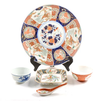Lot 8-Chinese blue and white porcelain tea bowl decorated with figures, a Japanese Imari charger, etc