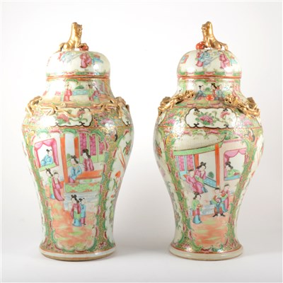 Lot 53-Pair of Cantonese covered vases, probably early 20th century
