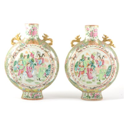 Lot 54-Pair of Cantonese moon flasks, probably early 20th century