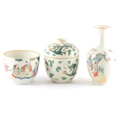 Lot 53-A Chinese vase, flared rim, ovoid body, polychrome enamels, ...