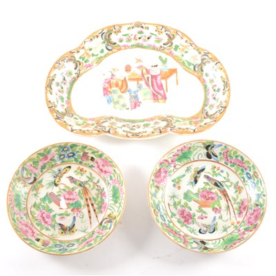 Lot 42-A Cantonese famille rose dish, and similar pair of saucers