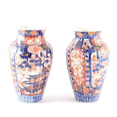 Lot 6-A pair of Japanese Imari vases