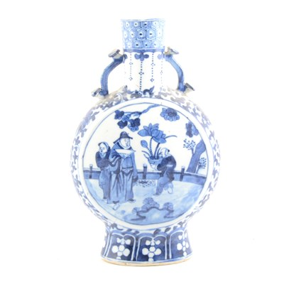Lot 40-Chinese blue and white porcelain moon flask