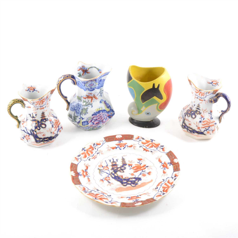 Lot 22-Three Masons ironstone jugs, and other pottery