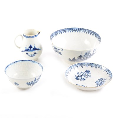 Lot 47-Worcester jug, 18th Century, blue and white, a similar saucer and two bowls, all damaged