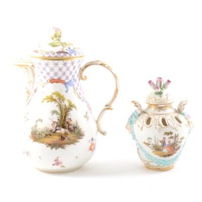 Lot 16-A Meissen porcelain pear-shape jug, probably late 19th Century