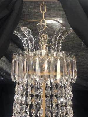 Lot 477-An impressive ten-light cut glass chandelier, by Waterford Crystal, circa 1970.