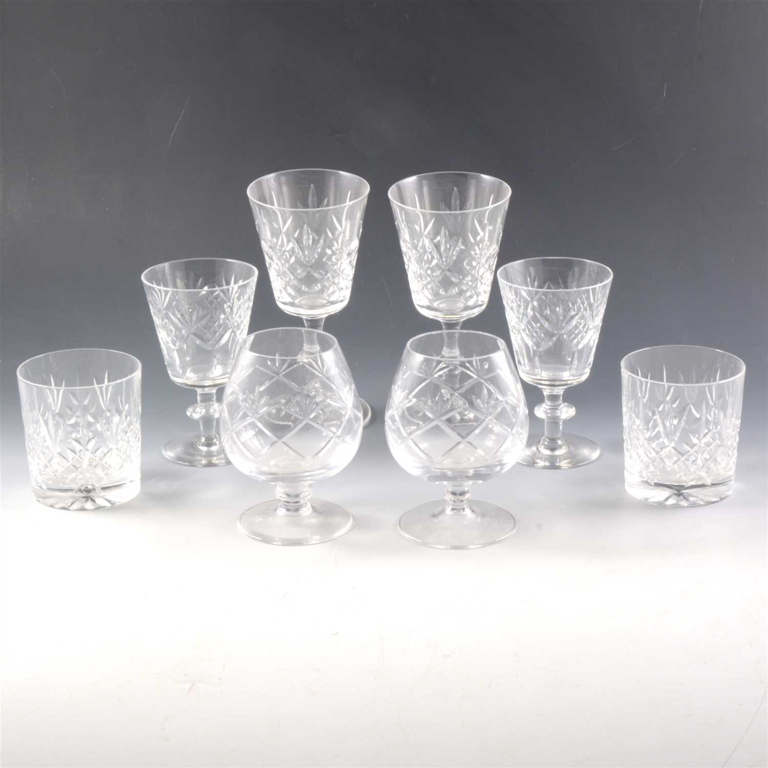 Lot 18-A set of six Edinburgh crystal wine glasses, and other glassware