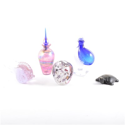Lot 32-An iridescent glass scent bottle, and other ornamental glass