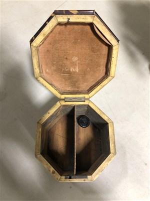 Lot 84-A William IV tortoiseshell octagonal shape tea caddy