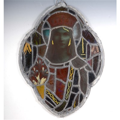 Lot 8-A Victorian stained and leaded glass panel, depicting a female saint