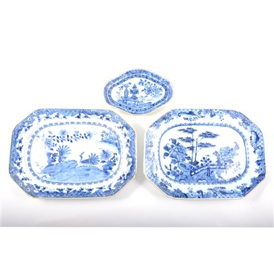Lot 57-Chinese porcelain blue and white dish, together with a similar dish and a stand