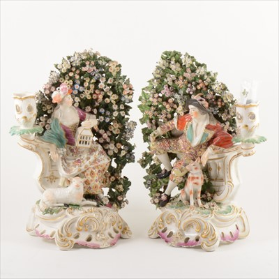 Lot 505-A pair of Derby brocage candlesticks