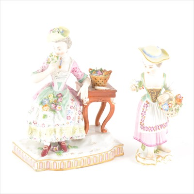 Lot 506-A Meissen porcelain figure, flower girl by a table, from the the Senses series
