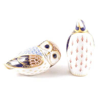 Lot 41-A Royal Crown Derby paperweight, modelled as a Penguin, and an Owl