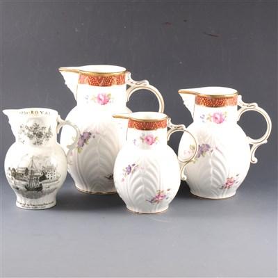 Lot 24-Three Coalport bone china graduating jugs, ...