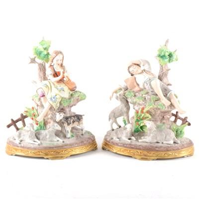Lot 34-A pair of Sitzendorf figures, ...