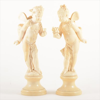 Lot 538-A pair of Dieppe ivory figures
