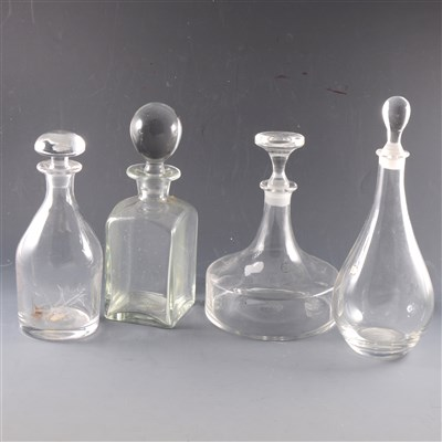 Lot 47-A collection of modern glass decanters, Dartington, Whitefriars, ...