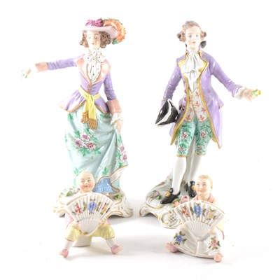 Lot 23-A pair of Sitzendorf figures, and a pair of figural menu stands