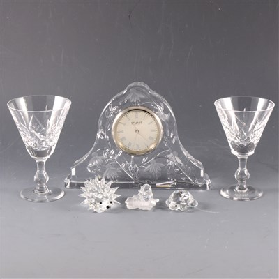 Lot 15-A collection of glassware, including Waterford Crystal clock, Stuart Crystal clock and Swarovski miniatures