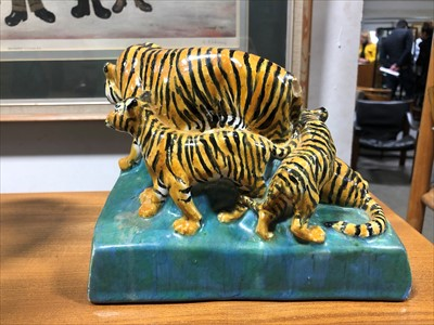 Lot 148-A pottery group of Tigers, by Stella R Crofts, 1925.