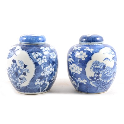 Lot 9-A pair of Chinese blue and white ginger jars and covers.