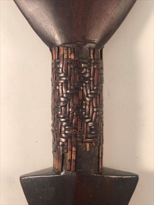 Lot 528-Ethnographia: a hardwood sapakana paddle-shape war club, probably Guyana or Brazil