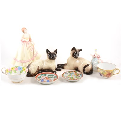 Lot 24-Beswick, two Siamese cats, two Doulton figures, trios, and Chinese export ware