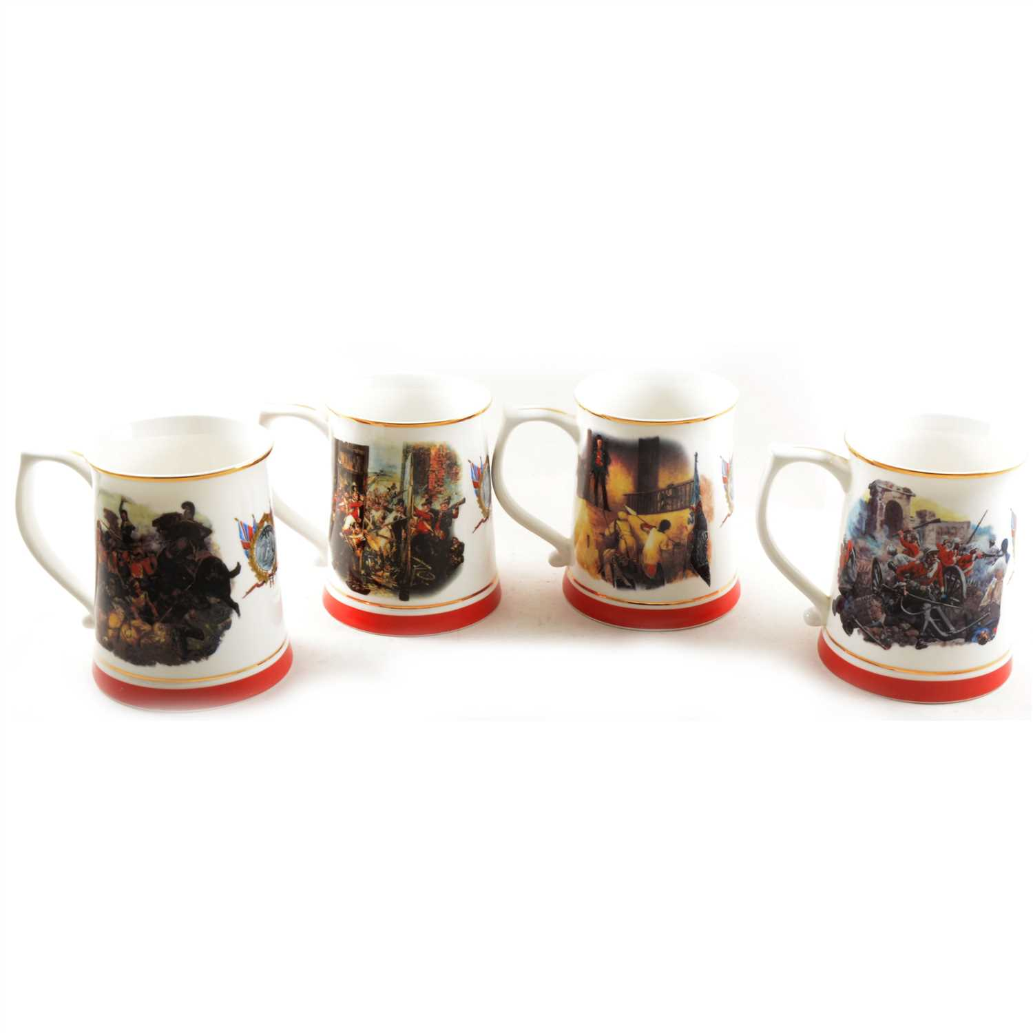 Lot 19-A set of seven bone china Danbury Mint tankards, for The Army Benevolent Fund