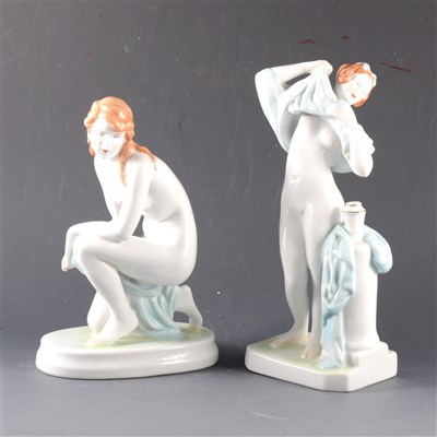 Lot 2-Two modern Zsolnay Pecs porcelain figures