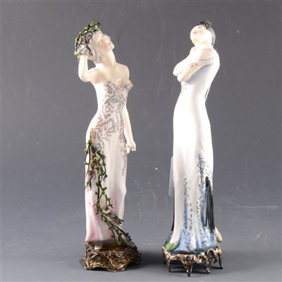 Lot 3-Two Royal Worcester figures, from the Seasons series