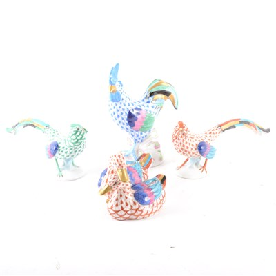 Lot 10-Four Herend figures and a Wedgwood 'Hummingbird' lustre bowl