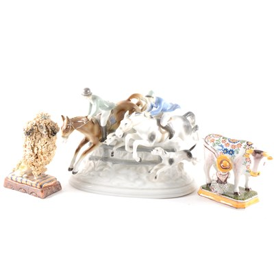 Lot 19-A Continental porcelain hunting group, The Chase, ...