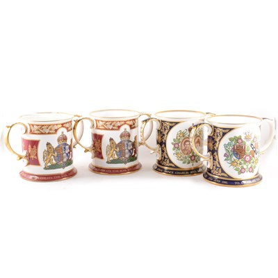 Lot 12-Two Spode bone china commemorative Loving Cups, ...